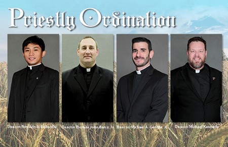 From left, Deacon Roy Aris B. Ballacillo, Deacon Thomas John Barry, Deacon Michael A. Gentile Jr. and Deacon Michael Kennedy are set to be ordained to the priesthood June 3 in St. Mary of the Assumption Cathedral, Trenton.