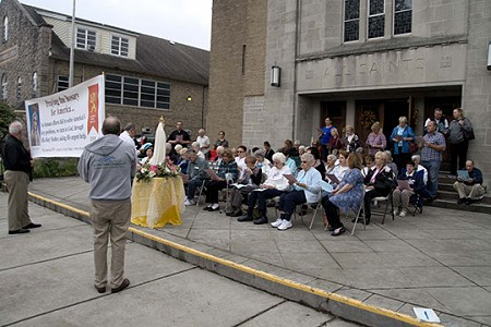 Public Statement • All Saints Church, Burlington, was one of numerous parishes to host a Public Square Rosary Crusade Oct. 14 as faithful gathered to pray for the intentions of the nation. Joe Moore photo