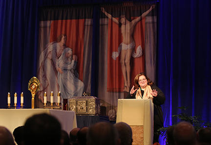 Teresa Pitt Green, an abuse survivor, speaks to bishops in the chapel during a day of prayer Nov. 12 at the fall general assembly of the U.S. Conference of Catholic Bishops in Baltimore. CNS photo/Bob Roller