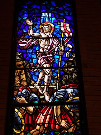 As part of a Lenten Enrichment series in Toms River, Father Pablo Gadenz, a priest of the Diocese, spoke on the Passion and Resurrection. A depiction of the Resurrection is seen in this stained-glass window from St. Ann Parish, Lawrenceville. Mary Stadnyk photo