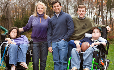 Defying the Odds – The Crowleys, from left; Megan, Aileen, John, John Jr. and Patrick, today live a joyful life in Princeton. Megan and Patrick, both diagnosed at an early age with the rare, often-fatal Pompe Disease, have survived thanks to John's work in developing a treatment for their illness. Brian Doben photo/courtesy of Newmarket Press