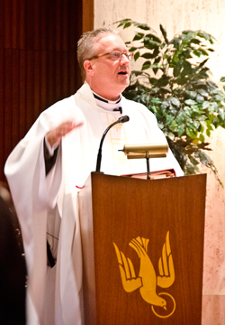 Encouraging Words – Father Jeffrey Lee, episcopal vicar of Mercer County and pastor of Our Lady of the Angels Parish, Trenton, reminded the gathering in St. Francis Medical Center that it is the responsibility of the entire Catholic community to care for the sick and infirm.