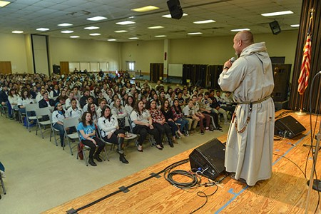 Franciscan Friar of the Renewal Father Agustino Torres addresses the Diocesan Youth Conference March 4 at St. Gregory the Great, Hamilton Square. Craig Pittelli photo