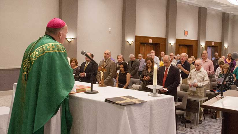 Bishop David M. O'Connell, C.M., celebrates Mass during the Convocation of Deacons Oct. 26. During the Mass, he also presided at the Rite of Candidacy for 10 men who were formally accepted into the diocesan Diaconate Formation Program. Joe Moore photo