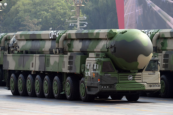 "A Dongfeng-41 intercontinental strategic nuclear missiles group formation is seen Oct. 1 in Beijing. Pope Francis' top aide made no secret of what will be on the Pope's mind Nov. 24 when he visits Hiroshima and Nagasaki, Japan: ""the total elimination of nuclear weapons."" CNS photo/Weng Qiyu, Reuters"