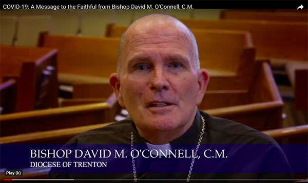 Bishop David M. O'Connell, C.M., addresses the faithful in a video message published March 20.  Photo courtesy of the diocesan Department of Multimedia Production