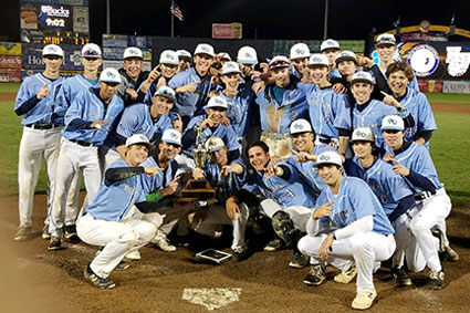 In this May 2019 photo, the Notre Dame High School baseball team celebrates its Mercer County Tournament title after its win over Hopewell Valley. A new Baseball Bible Study has been underway at the school, and it will continue online even though the 2020 spring sports season is canceled due to COVID-19. Rich Fisher photo