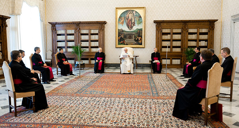 "Pope Francis speaks during his weekly general audience in the library of the Apostolic Palace at the Vatican June 3, 2020. During the audience, the pope prayed for George Floyd and said, ""We cannot tolerate or turn a blind eye to racism."" CNS photo/Vatican Media"