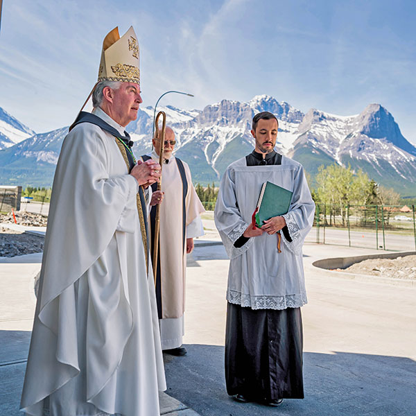 Bishop William McGrattan of Calgary, Alberta, is seen during the designating of the new Our Lady of the Rockies Church in Canmore. CNS photo/Yuan Wang, courtesy Diocese of Calgary