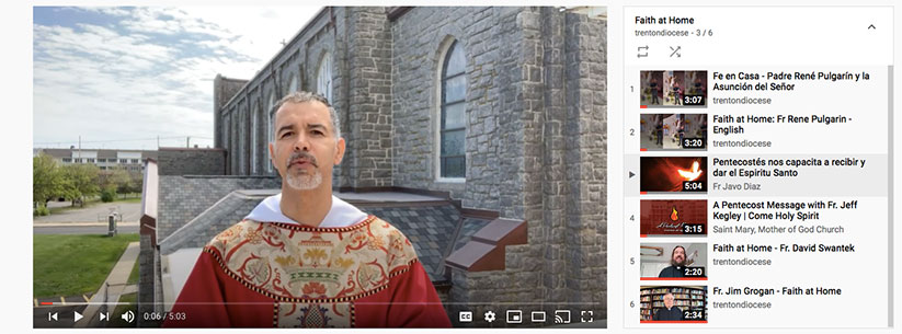 In this Faith At Home video, Father Javier Diaz, pastor of Christ the King Parish, Long Branch, reflects on Pentecost. YouTube screenshot