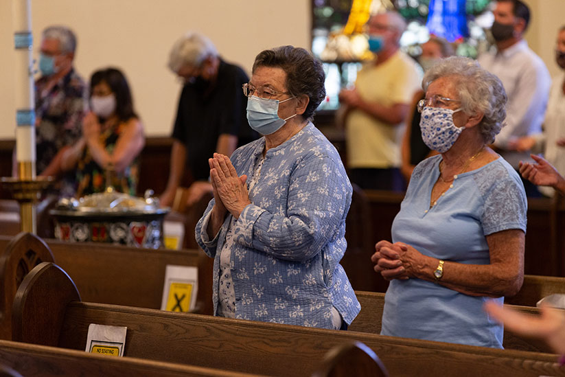 Faithful attend Mass recently in St. Rose Church, Belmar. Bishop David M. O'Connell, C.M., has issued updated liturgical-pastoral directives in this time of pandemic. Rich Hundley photo