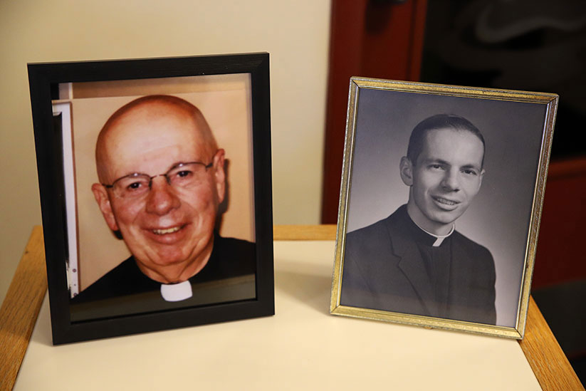 At left is a recent photo of Father Rocco A. Cuomo. At right is Father Cuomo as a young priest.