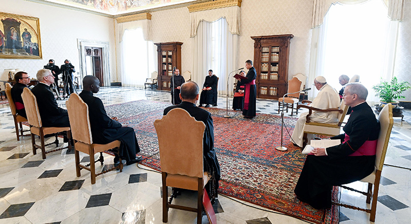Pope Francis leads his weekly general audience from the library of the Apostolic Palace at the Vatican Jan 13, 2021. In his main talk, the pope focused on the importance of praising God in times of darkness and difficulty. CNS photo/Vatican Media