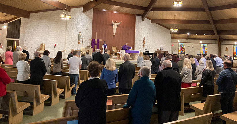 Faithful from Our Lady of Guadalupe Parish, Lakewood, gather for a retreat that was led in Polish by Divine Word Father Jan Pastuszczak, parochial vicar. The retreat, held March 19-21, focused on the life of St. Joseph, King David and Eternal Life. Courtesy photo